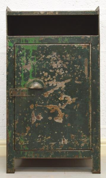 Mid Century Retro Industrial Green Metal Cabinet photo 1