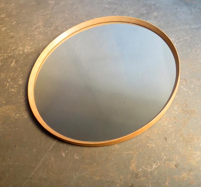 Big Round Mirror With Oak Frame