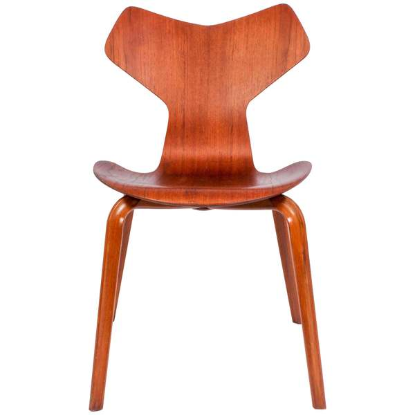 Arne Jacobsen Teak Grand Prix Chair Model 3130 By Fritz Hansen