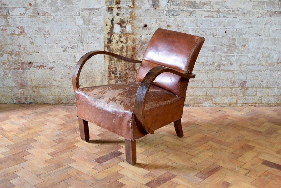French Leather Club Chair Armchair Vintage Bridge Chair