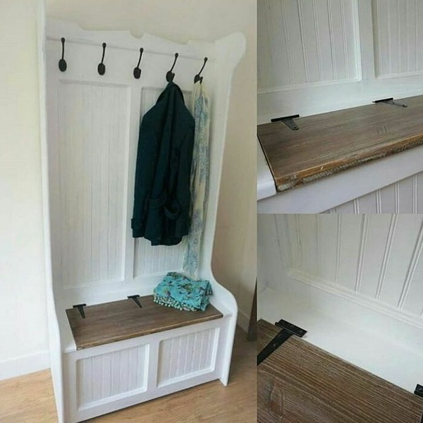 best website a764f 03770 Tall Hallway Bench With Storage And Coat Hooks