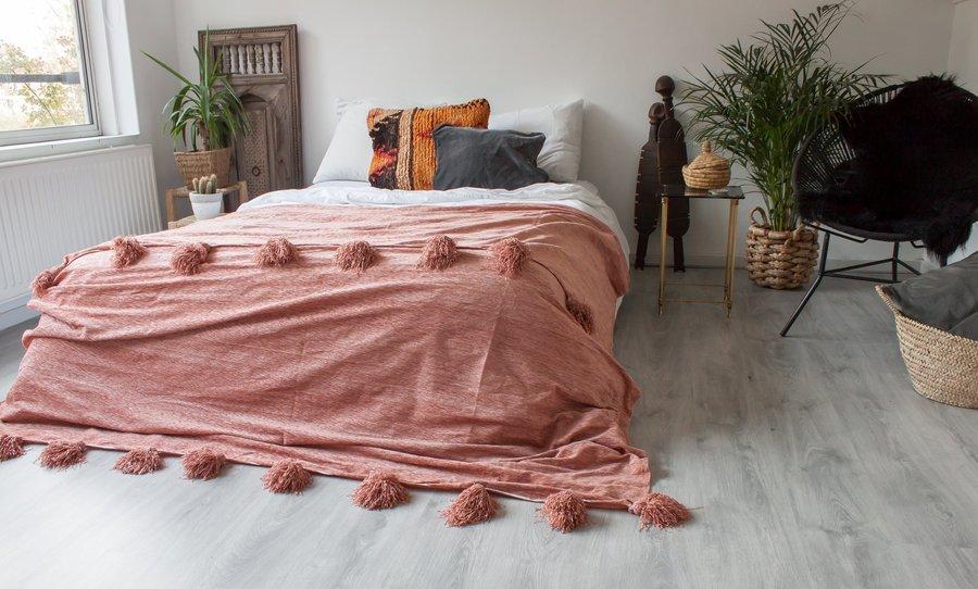 Deluxe Pompom Blanket 'Blush'   Large