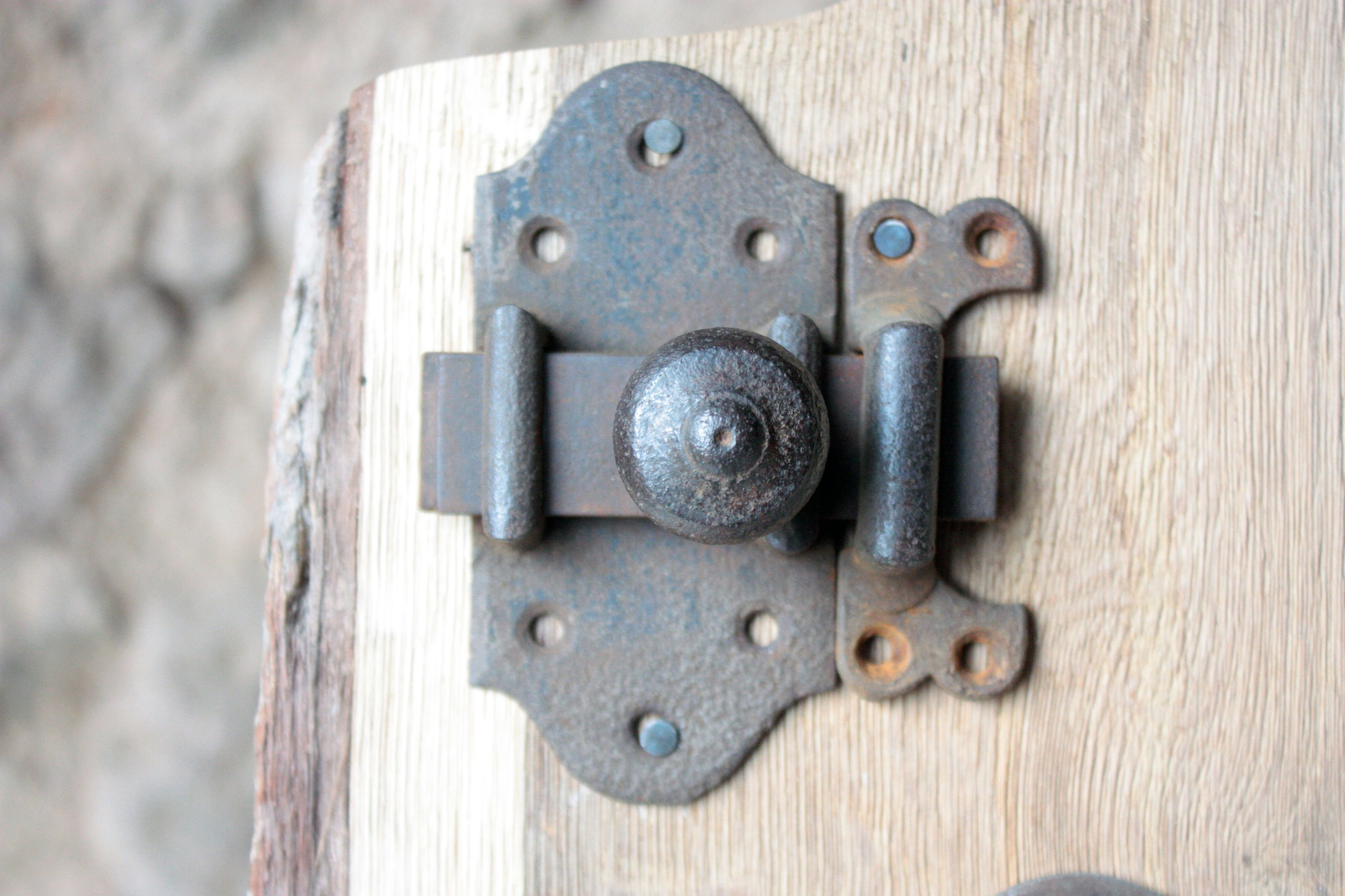 French Antique Door Lock With Closure In Forged Iron For Your Rustic Farmhouse Decor