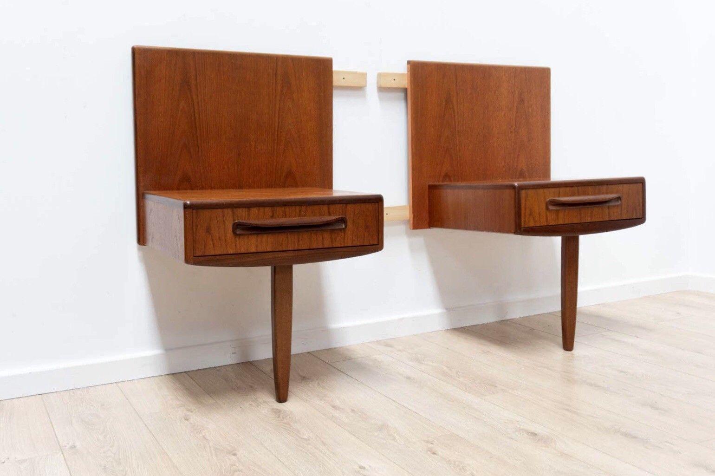 pair mid century vintage g plan fresco teak floating bedside cabinet drawers 427 0