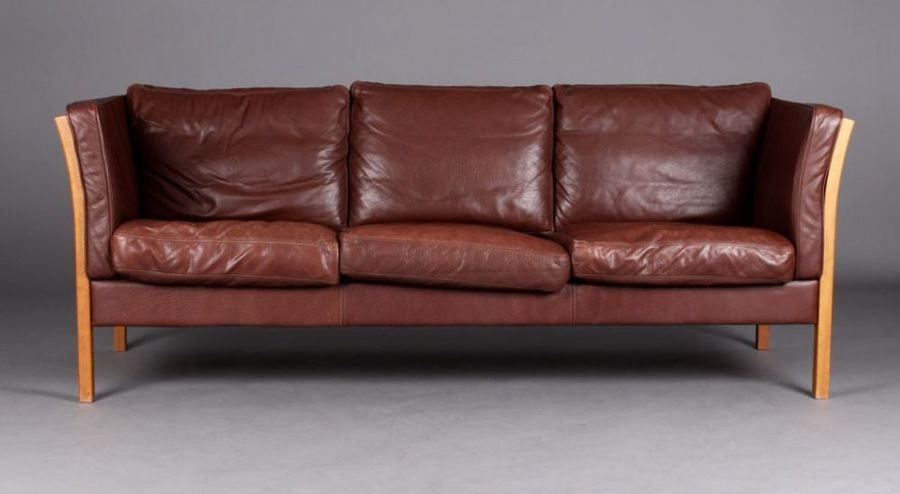Danish Mogensen Style Leather Sofa, Great Colour