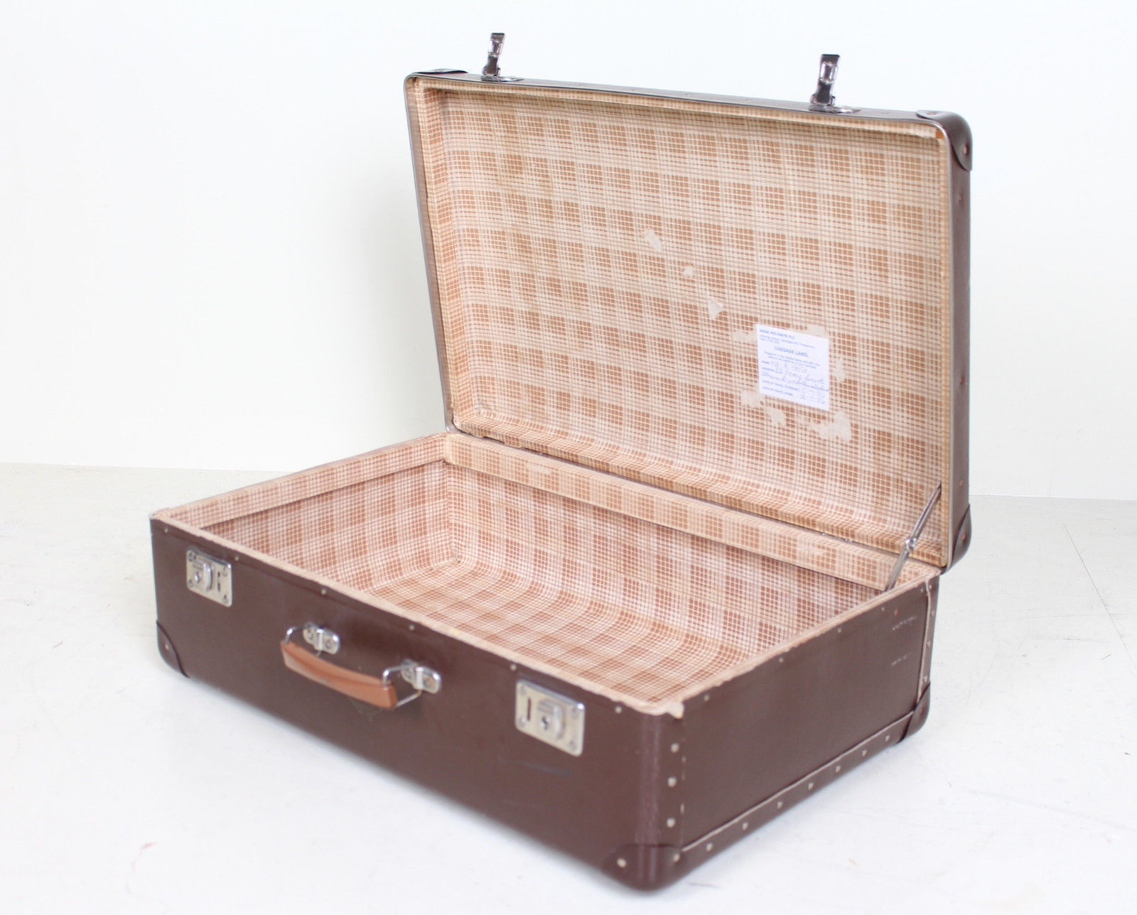 Vintage Suitcase Chest Steamer Coffee Table Trunk Storage Box Brown Czech Vinteriorco