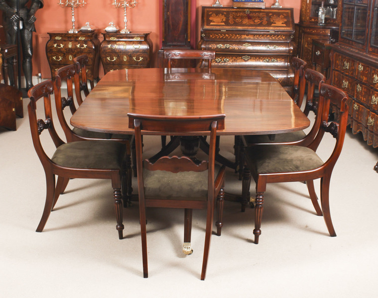 Antique George Iii Regency Dining Table 19th C With 8 Bespoke Dining Chairs Vinterior