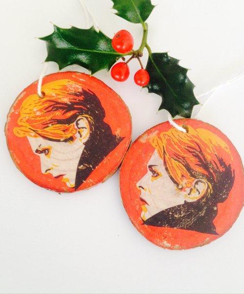 David Bowie. Handmade Wooden Nordic Christmas Ornament. Original Print Transferred Onto Wood. Rare