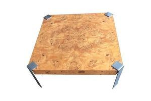 Thumb square coffee table burl olive wood in the style of milo baughman 0