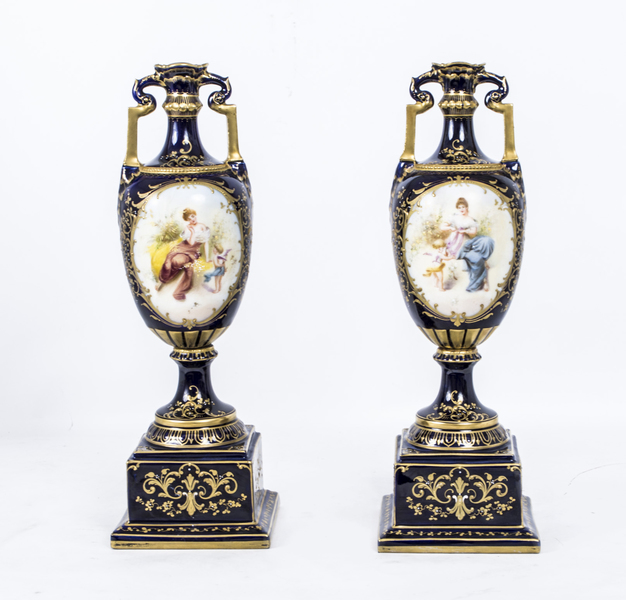 Antique Pair Vienna Porcelain Royal Blue Vases C1900 photo 1