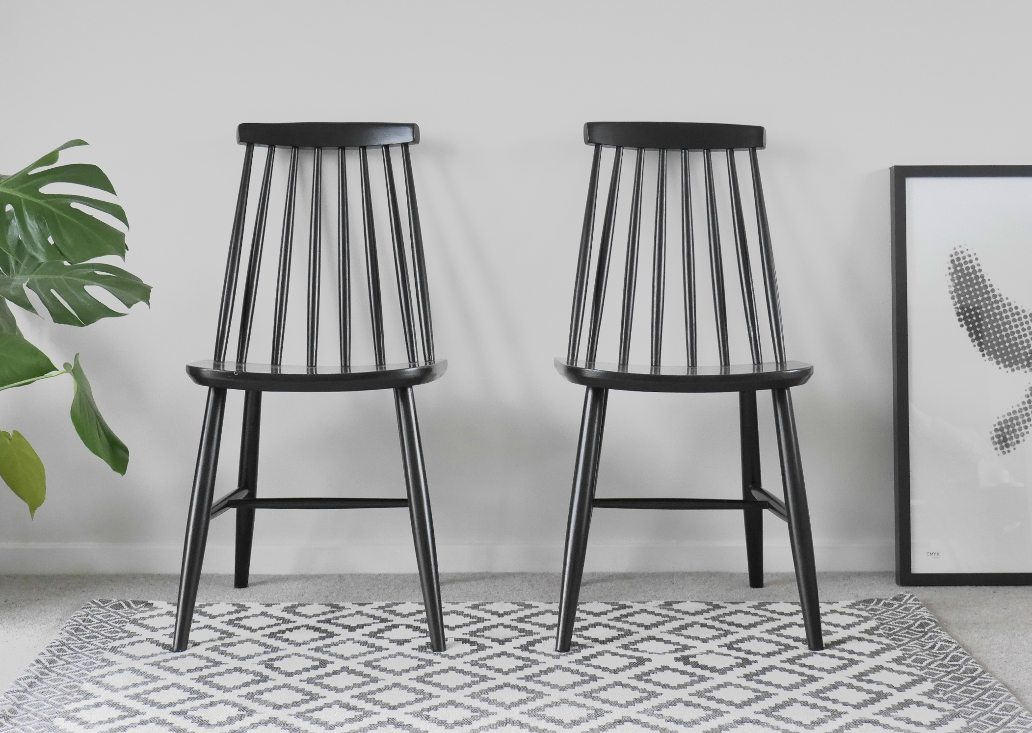 Strange Vintage Ercol Style Spindle Back Dining Chairs In Black Alphanode Cool Chair Designs And Ideas Alphanodeonline