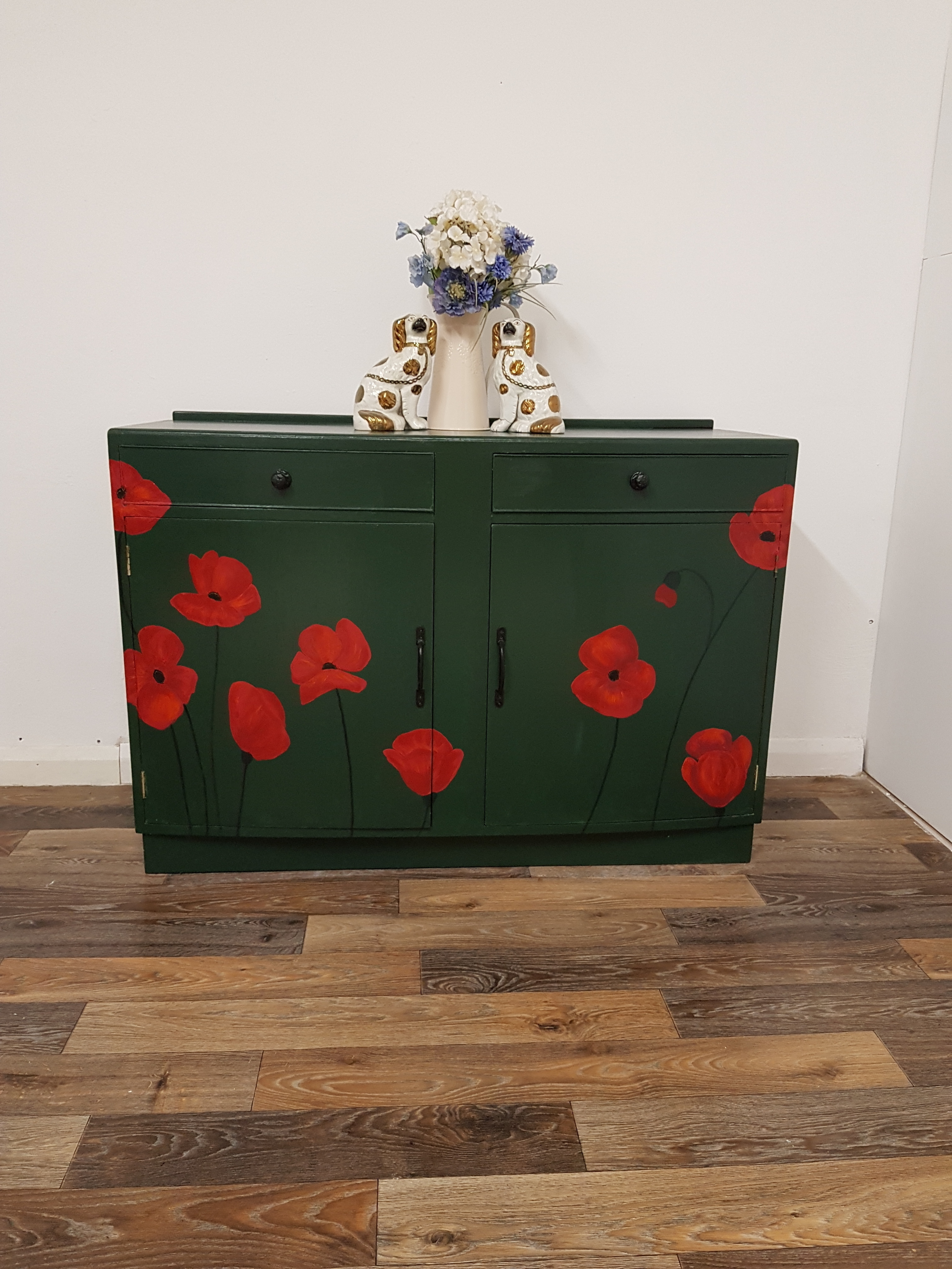 1900s Vintage Sideboard With Hand Painted Poppies China Cabinet
