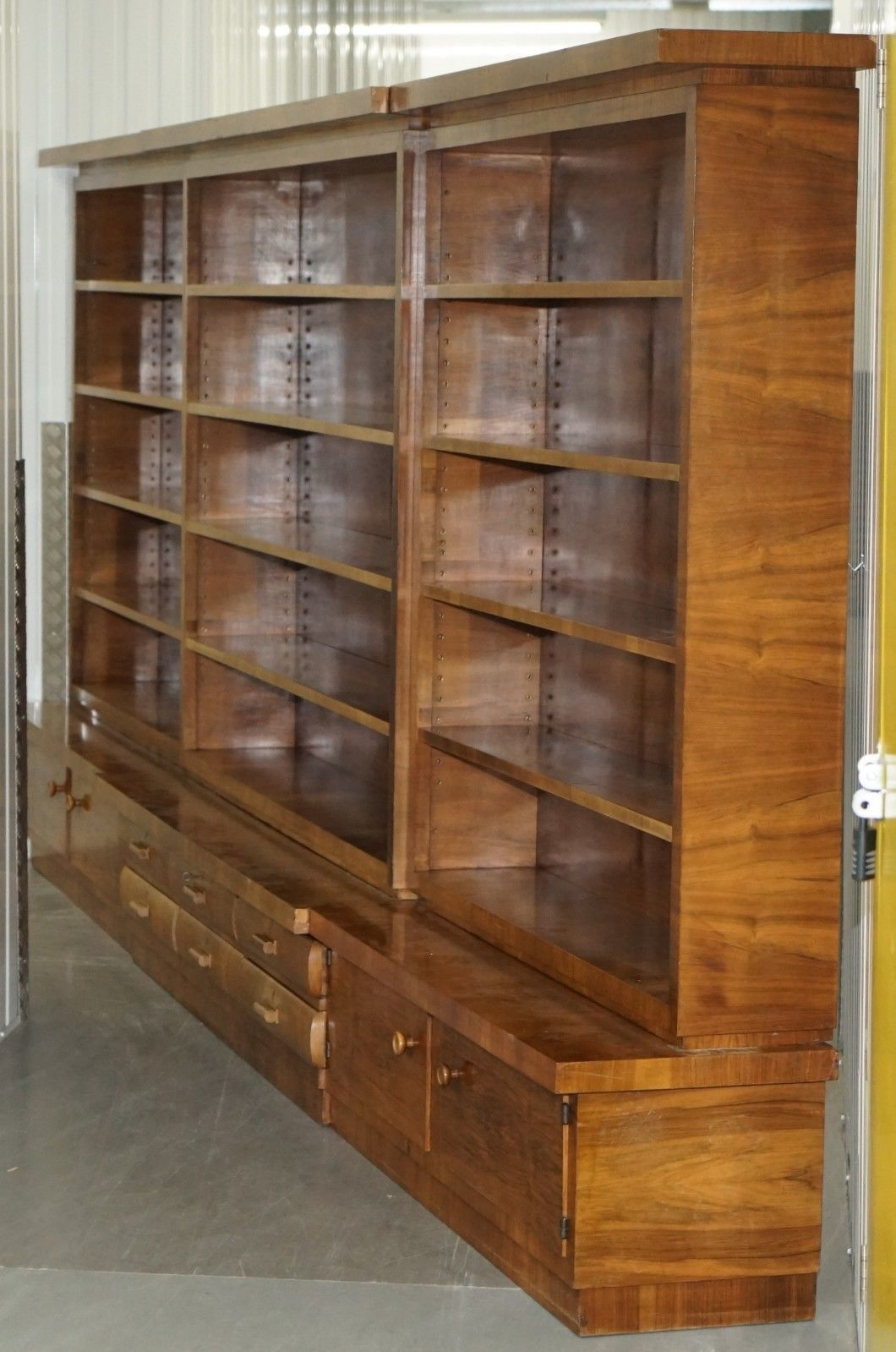 Enormous Mid Century Modern 500 Cm Wide Walnut Bookcase With Drawers Cupboards