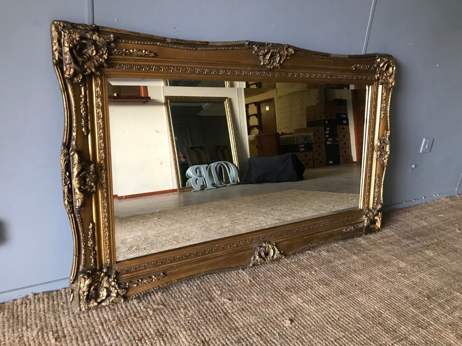 Huge Very Large Ornate Genuine Antique Vintage Gilt Frame Bevelled Wall Mirror Vinterior
