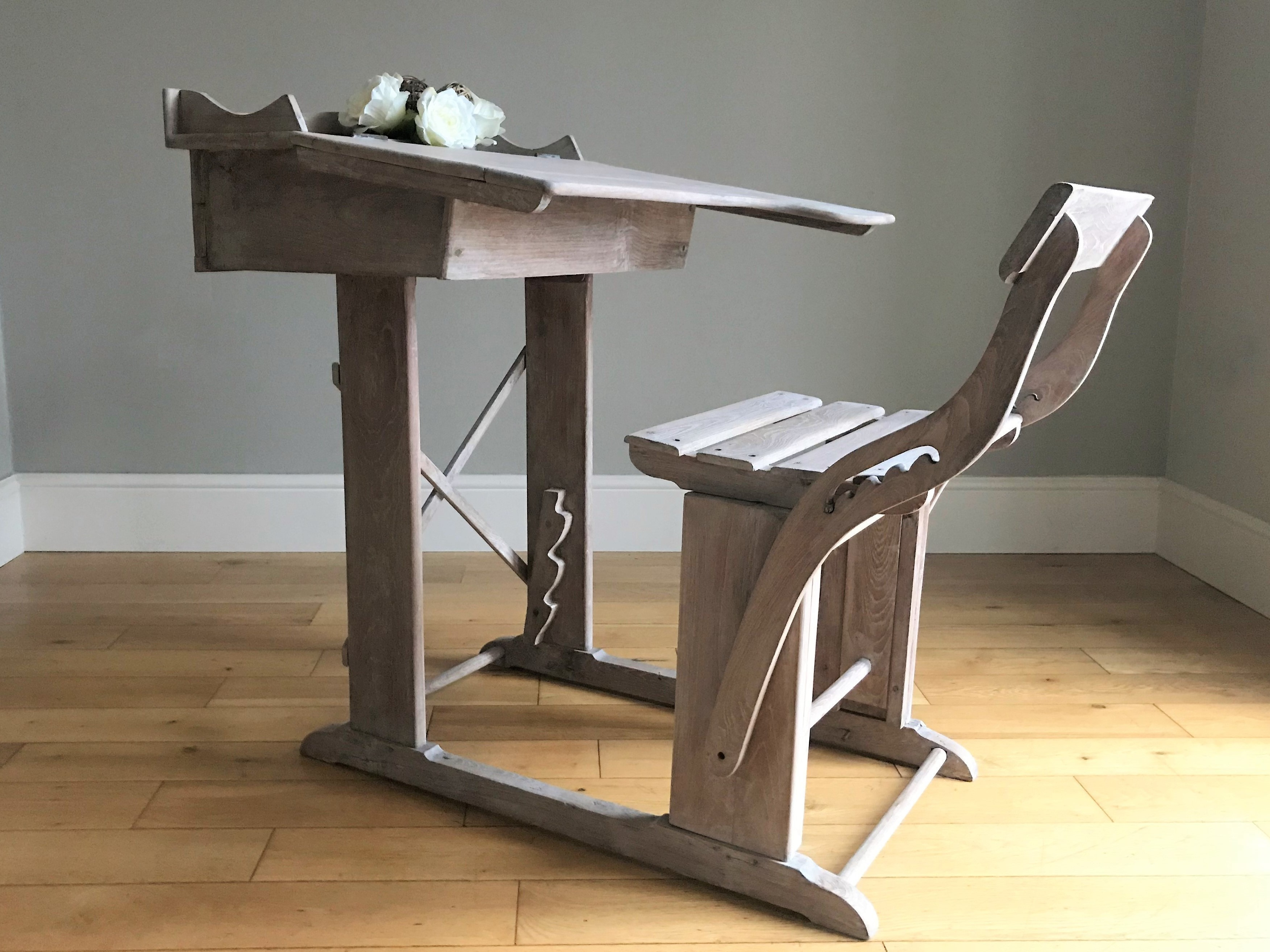 Prime Vintage Wooden Desk With Adjustable Chair Delivery Quote Available On Request Cjindustries Chair Design For Home Cjindustriesco
