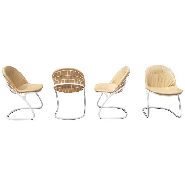 Gastone Rinaldi For Rima Set Of 4 Cream Chairs