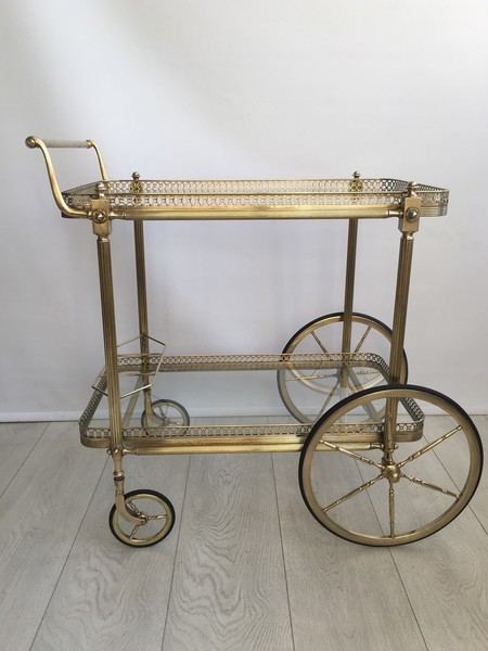 Large Vintage French Brass Drinks Trolley Bar Cart