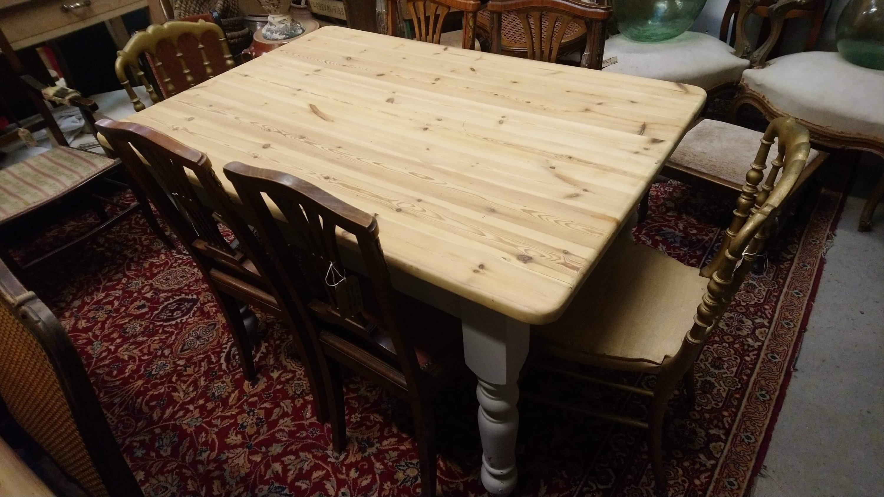 Vintage Chunky Pine Six Seat Farmhouse Kitchen Dining Table With Painted Base And Drawer