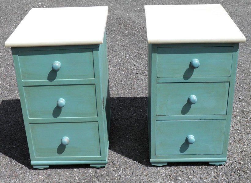 A Pair Of Mid 19th Century Upcycled Bedside Cabinets photo 1