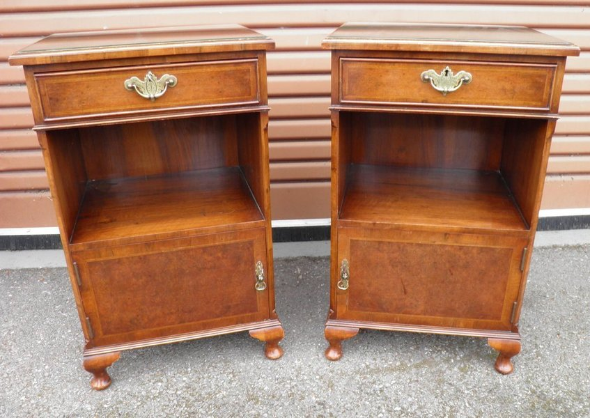 A Pair Of Vintage Walnut Bedside Cupboards photo 1