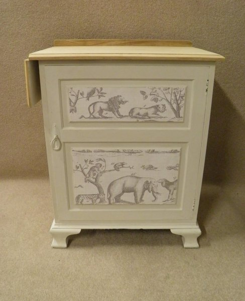 Antique Vintage Shabby Chic Bedside Locker With Single Drop Flap photo 1