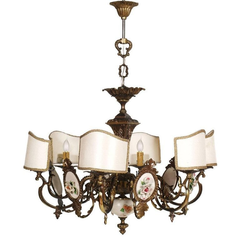 Art Nouveau Italy Six Lights Chandelier In Burnished Br And Bano Ceramic