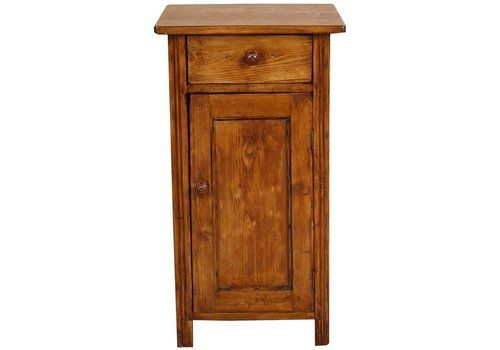 19th Century Country Rustic Tyrolean Nightstand Larch Restored Polished Wax