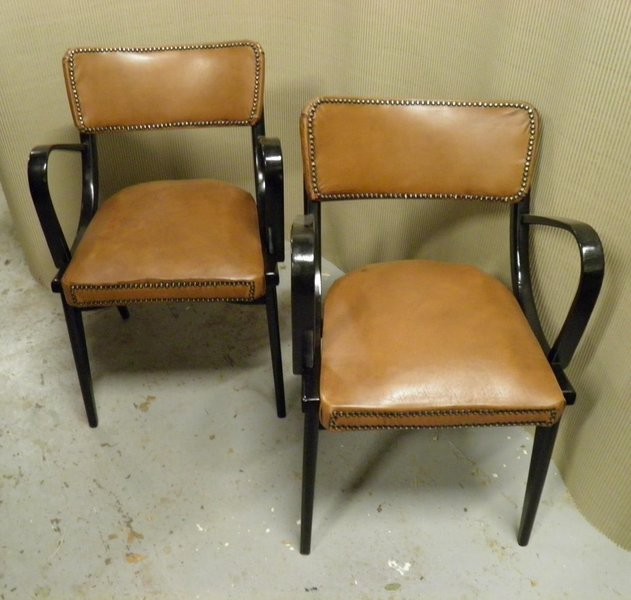 Pair Of 1960's Black And Tan Retro Armchairs photo 1