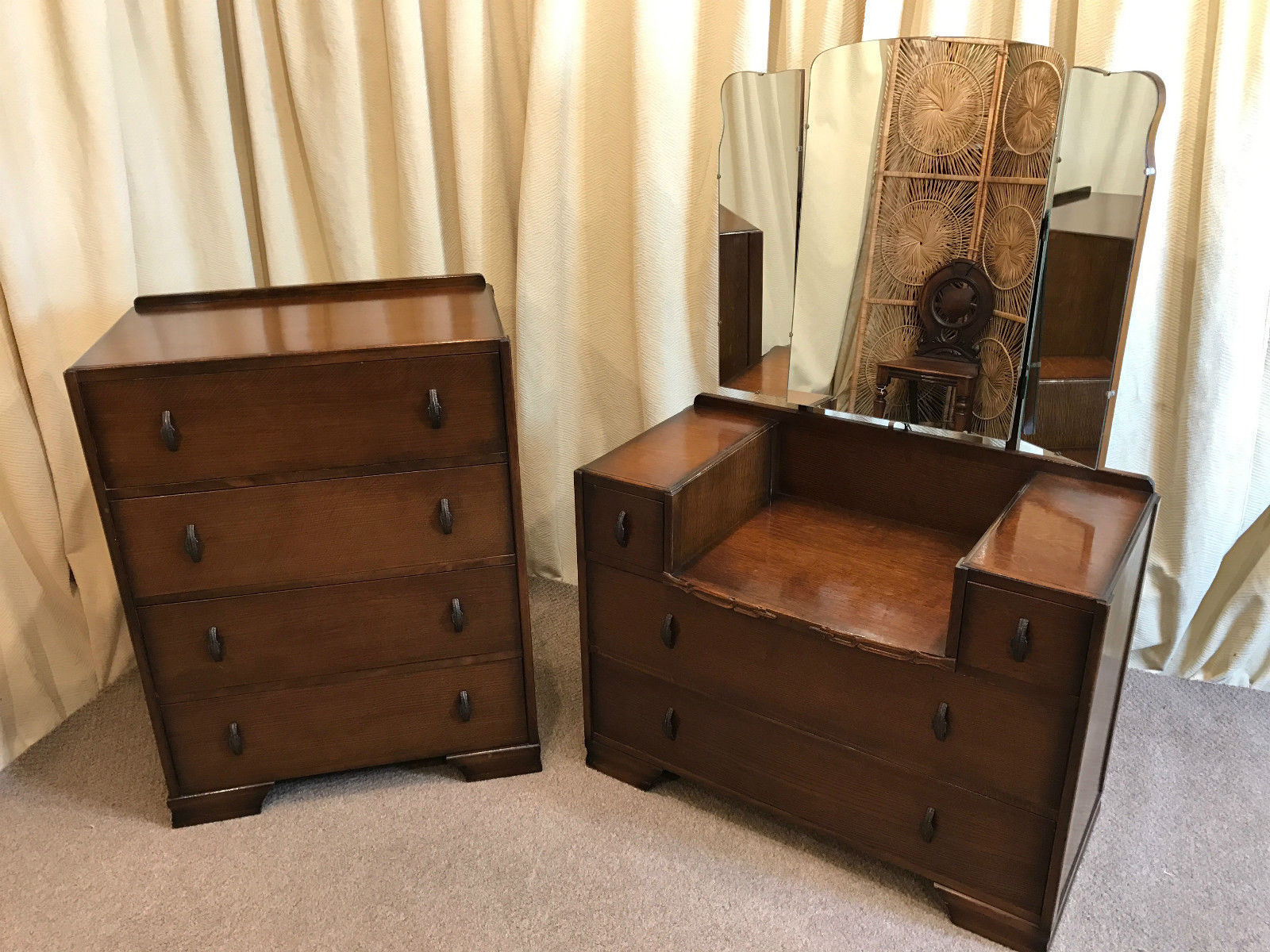 Vintage Oak Bedroom Set Chest Of Drawers Dressing Table 1930s 1940s Retro Free Delivery