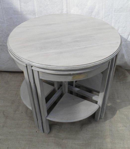 Vintage Upcycled Nest Of Five Mahogany Coffee Tables photo 1