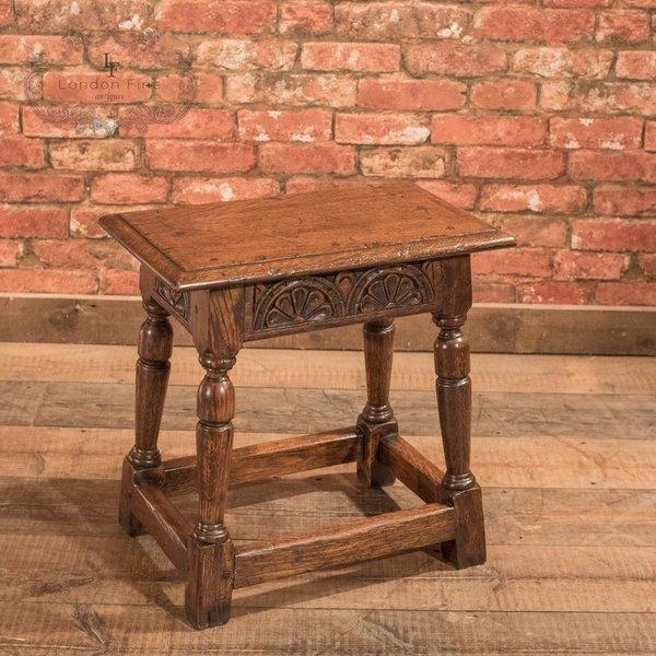Jacobean Revival Oak Joint Stool, Victorian C.1890