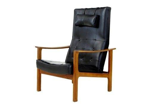 1960's Scandinavian Modern Teak Reclining Leather Armchair