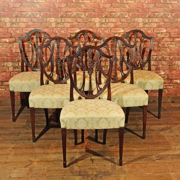 Set Of 6 Hepplewhite Revival Dining Chairs, C19th photo 1