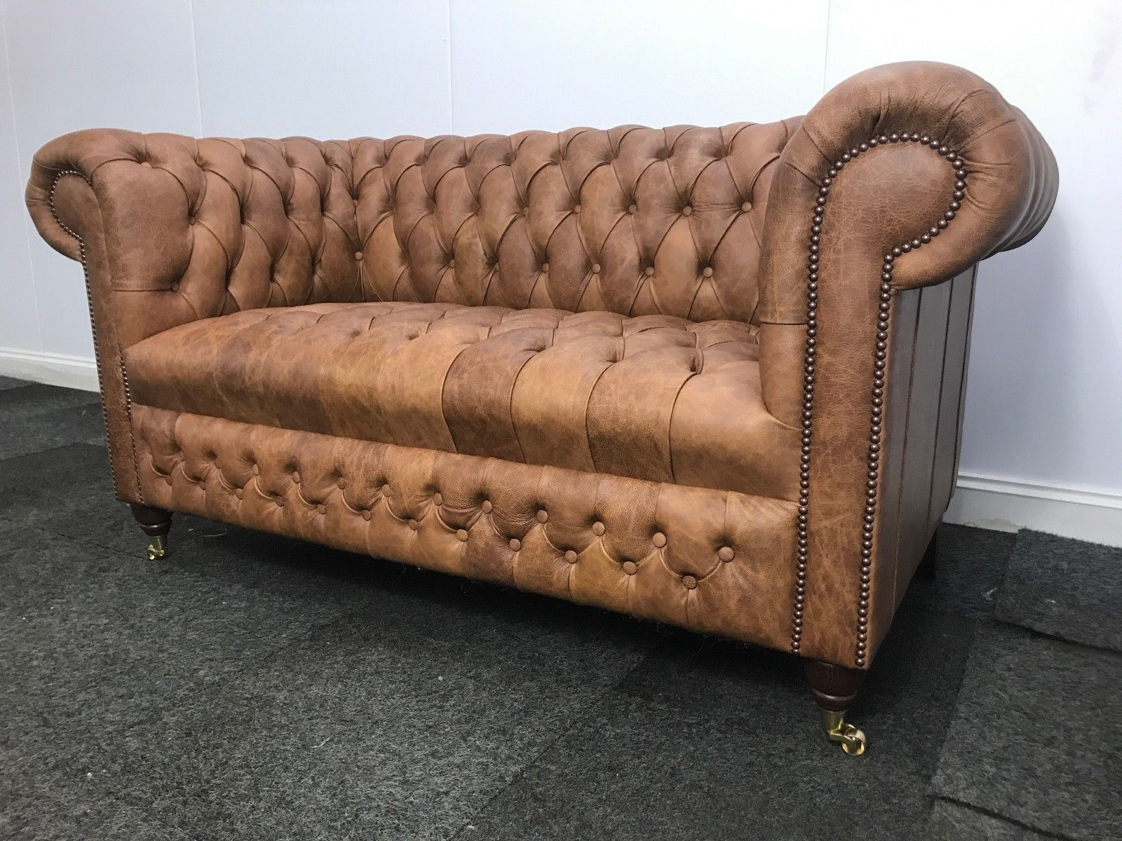 Magnificent Vintage Tan Leather Chesterfield 2 Seater Sofa Crackle Antique Leather Pabps2019 Chair Design Images Pabps2019Com