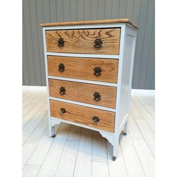 Oak And French Grey Chest Of Drawers