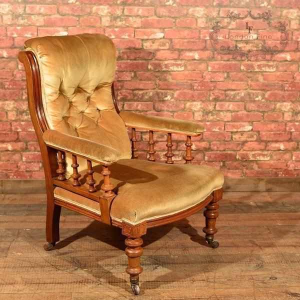 Victorian Walnut Armchair, Upholstered, C.1880 photo 1