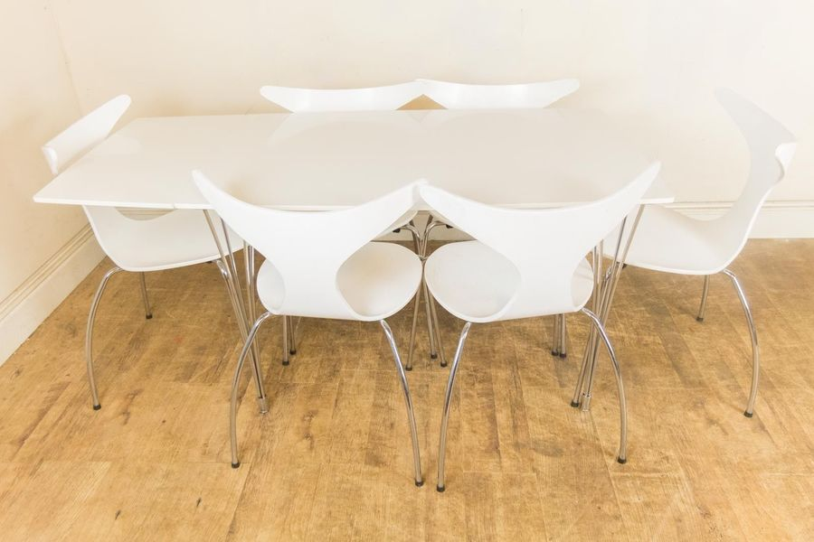 Vintage Retro Danish Dan Form White And Chrome Table And 6 Dolphin Chair Set