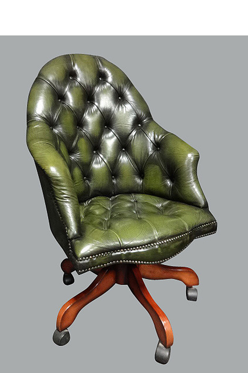 Green Leather Office Desk Chair
