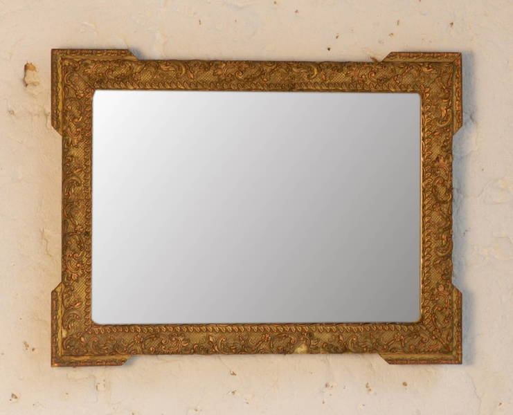 Small Giltwood Mirror With Floral Decor photo 1