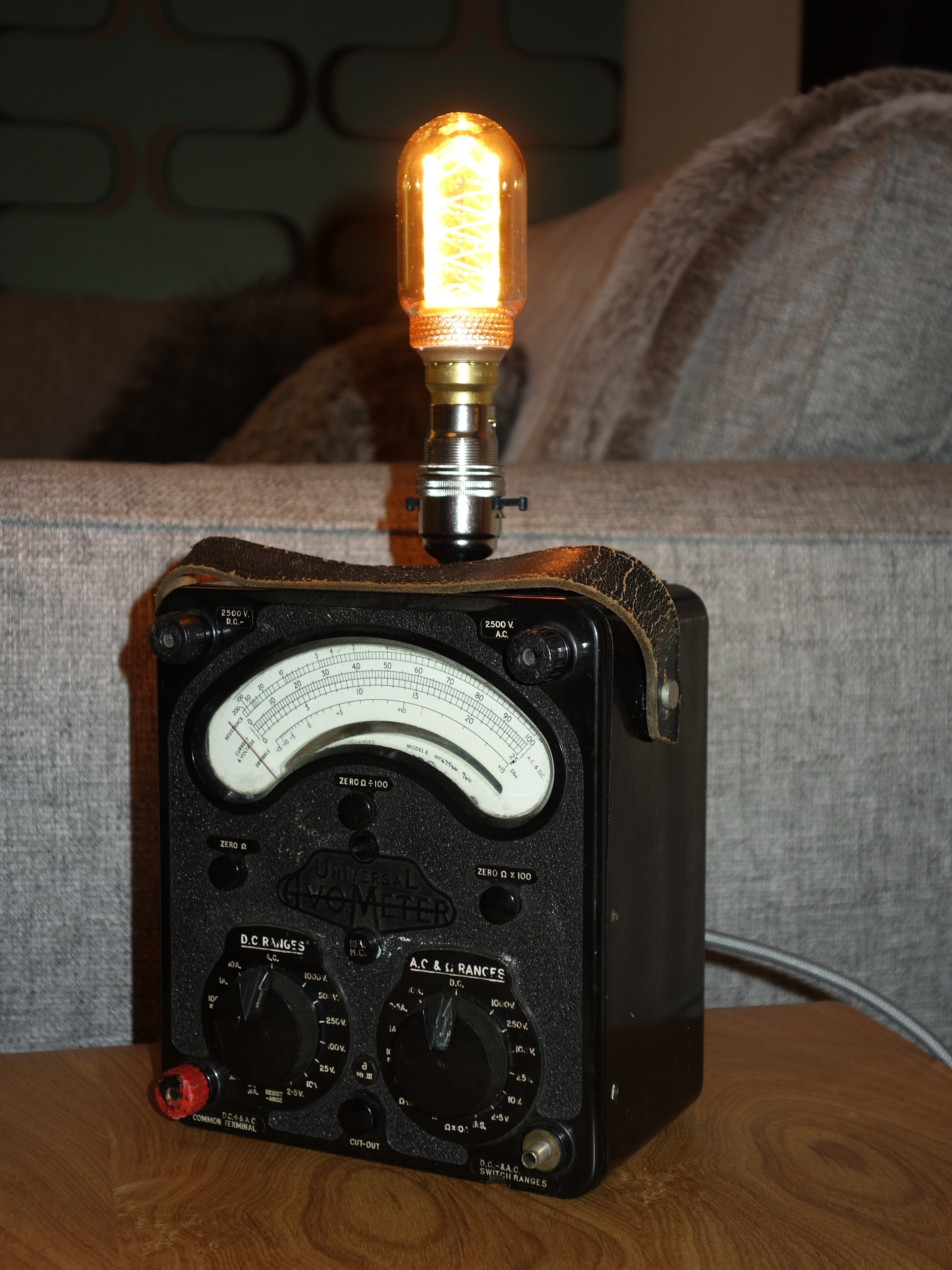 Sidetable 3 Meter.Desk Side Table Lamp Converted Vintage Avometer Mid Century Industrial Design