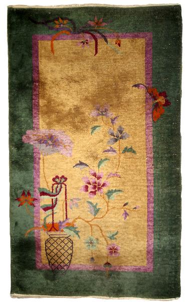 Handmade Antique Art Deco Chinese Rug, 1920s