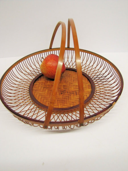 Wood And Wicker Bowl With Handles, Vintage Rattan Fruit Bowl, Folding Handles, Mid Century Spiral Weave Tray