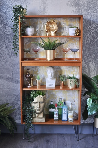 Upcycled Vintage Retro Teak G Plan Bookcase, Teak Bookcase, Flamingo Decoupage 2 Prong Industrial Hairpin Legs, Display Shelves