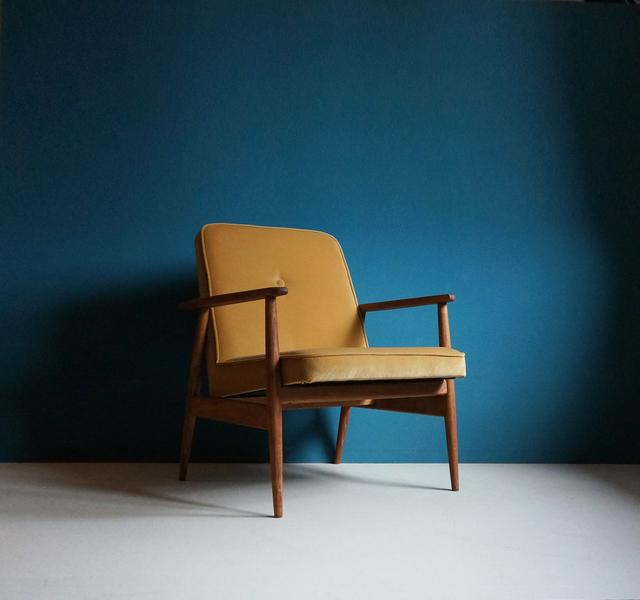 Vintage Armchair Form Mid Century, Gold Velvet Upholstery, Restored
