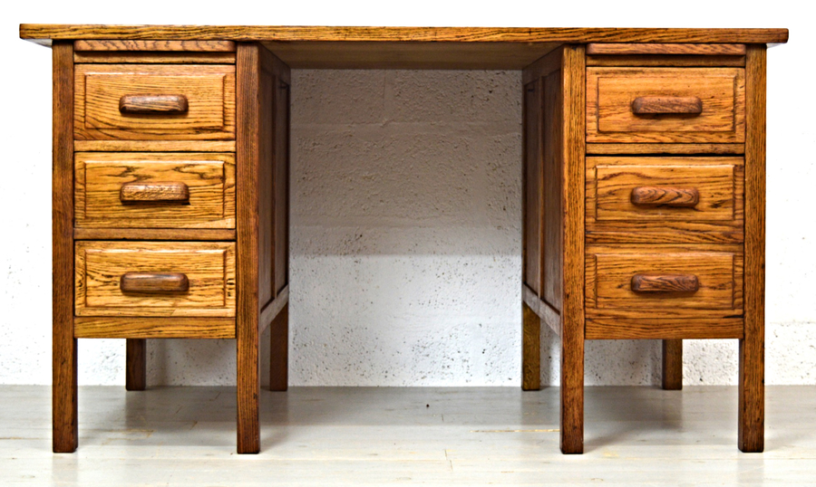 Mid Century Industrial 1960s Oak Office Desk