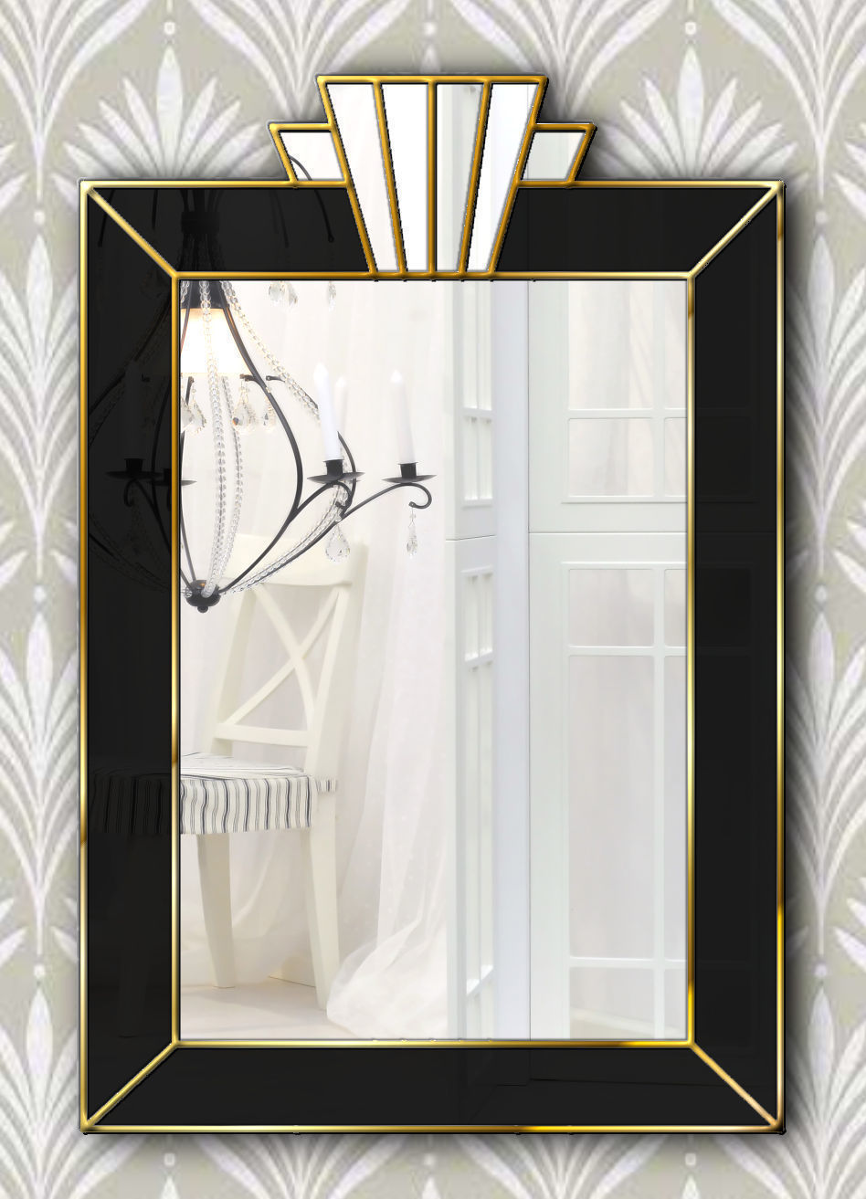 Vienna Royal Original Handcrafted Art Deco Wall Mirror With Black Glass Gold Trim Phillip Orr Vinterior