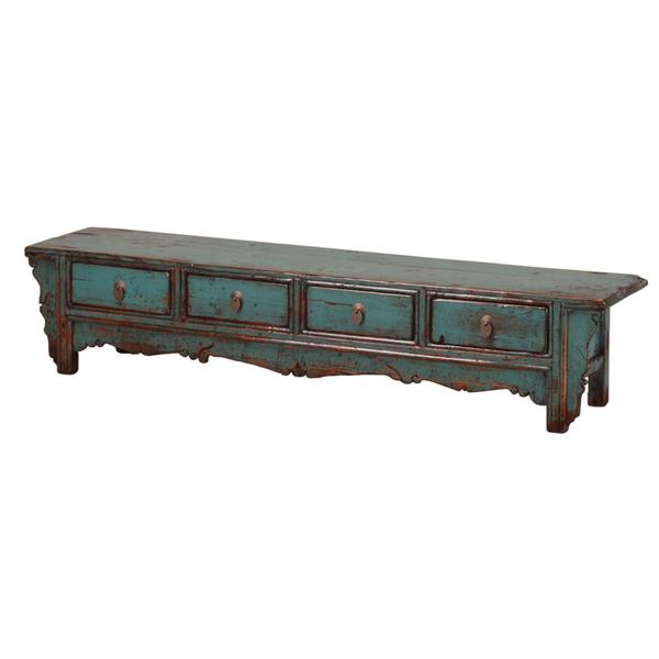 Long Low Vintage Teal Cabinet From Gansu