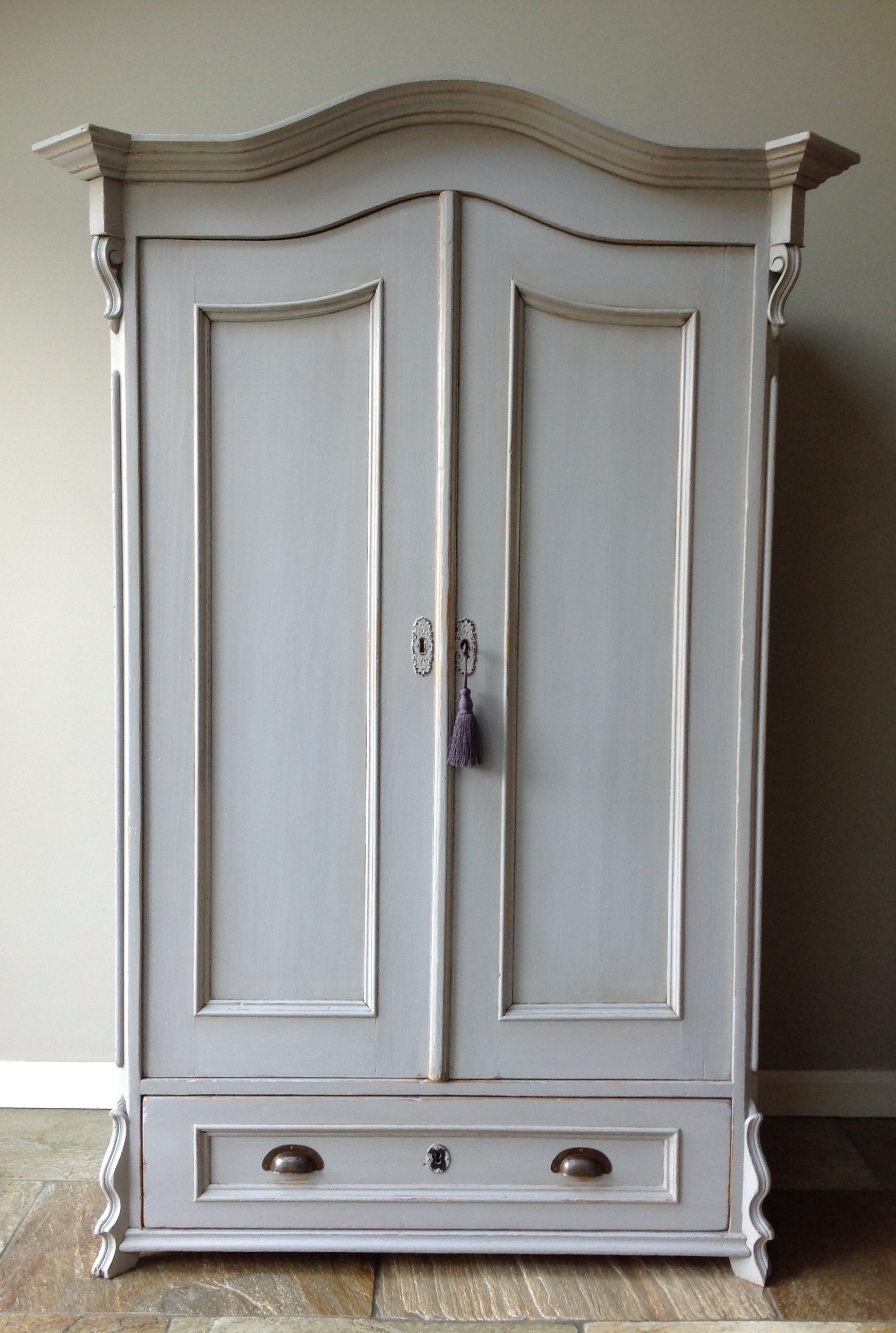 Antique French Style Hand Painted Grey Wardrobe Armoire