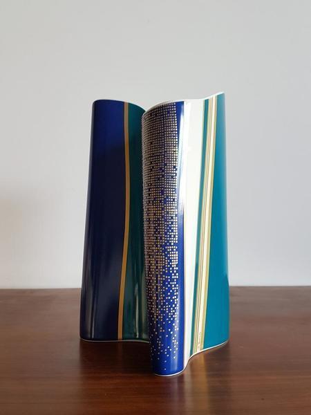 Rosenthal, Rare Blue Spirit Series By Barbara Brenner Porcelain Vase   Signed, 1980s, West German