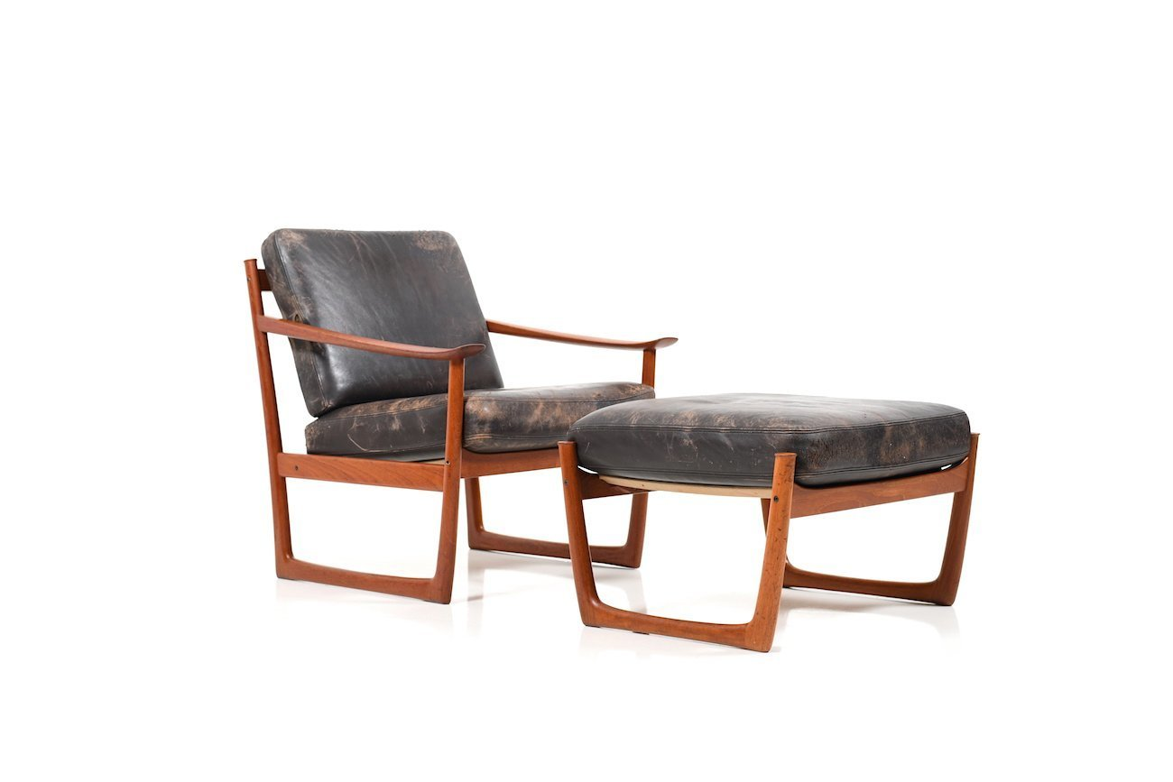 Magnificent Vintage Danish Lounge Chair And Ottoman By Peter Hvidt Orla Molgaard Nielsen For France Son Beatyapartments Chair Design Images Beatyapartmentscom
